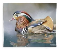 Mandarin Duck Swimming Fleece Blanket