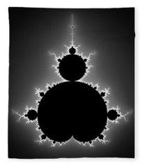 Mandelbrot Set Black And White Fractal Art Fleece Blanket