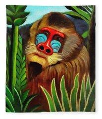Mandrill In The Jungle Fleece Blanket