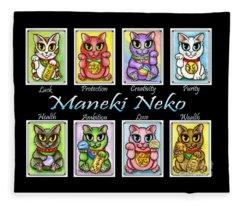 Maneki Neko Luck Cats Fleece Blanket