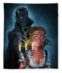 Manga Vampire And Woman Horror Fleece Blanket
