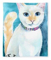 Mango - Flame Point Siamese Cat Painting Fleece Blanket