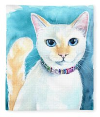 Mango - Flame Point Siamese Cat Painting Fleece Blanket