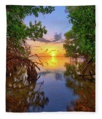 Mangrove Sunset From Jensen Beach Florida Fleece Blanket