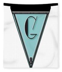 Pennant Deco Blues Banner Initial Letter G Fleece Blanket
