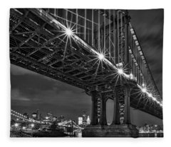 Manhattan Bridge Frames The Brooklyn Bridge Fleece Blanket