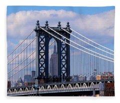 Manhattan Bridge Framing The Empire State Building Fleece Blanket