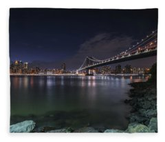 Manhattan Bridge Twinkles At Night Fleece Blanket