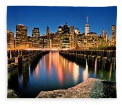 Manhattan Skyline At Dusk Fleece Blanket