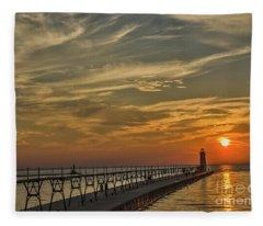 Manistee North Pierhead Lighthouse Fleece Blanket
