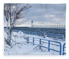 Manistee Pierhead Light-5 Fleece Blanket
