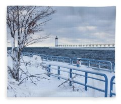 Manistee Pierhead Light-5 Fleece Blanket