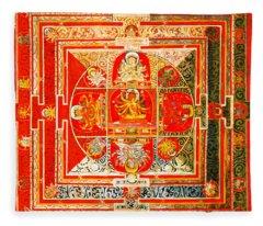 Manjuvara Thangka Mandala Fleece Blanket