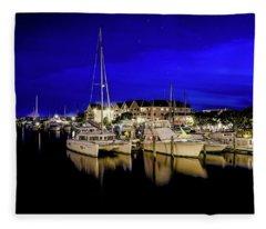 Manteo Waterfront Marina II Hdr Fleece Blanket