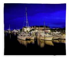 Manteo Waterfront Marina II Hdr Fleece Blanket