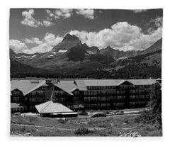 Many Glaciers Hotel  Fleece Blanket
