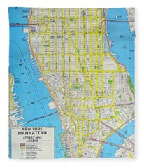 Map Lower Manhattan Nyc Fleece Blanket