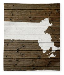 Map Of Massachusetts State Outline White Distressed Paint On Reclaimed Wood Planks Fleece Blanket