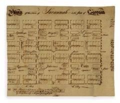 Map Of Savannah 1761 Fleece Blanket