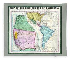 Map Of The Gold Regions Of California Fleece Blanket