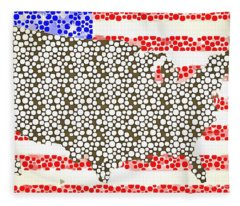Map Of The United States Of America Pop Art Fleece Blanket