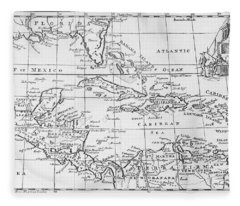 Map Of The West Indies Florida And South America Fleece Blanket
