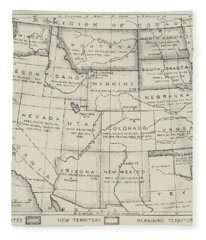 Map Of The Western States Of America Fleece Blanket