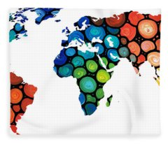 Map Of The World 1 -colorful Abstract Art Fleece Blanket