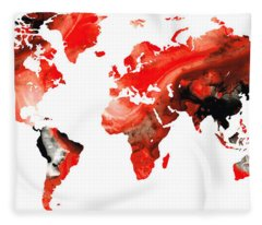 Map Of The World 10 -colorful Abstract Art Fleece Blanket