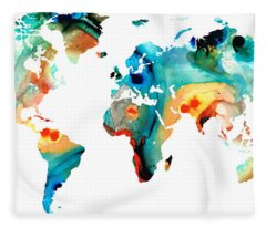 Map Of The World 11 -colorful Abstract Art Fleece Blanket