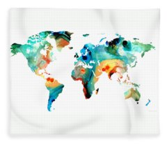 Map Of The World Fleece Blankets