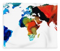 Map Of The World 3 -colorful Abstract Art Fleece Blanket