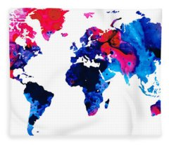 Map Of The World 9 -colorful Abstract Art Fleece Blanket