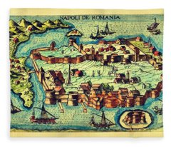 Map Seaport Fleece Blanket