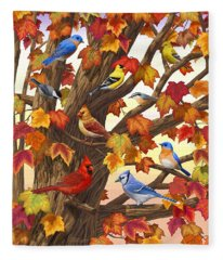 Maple Tree Marvel - Bird Painting Fleece Blanket
