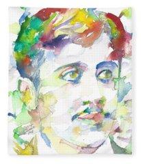 Marcel Proust - Watercolor Portrait.1 Fleece Blanket