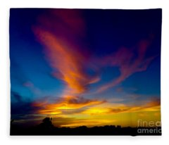 Sunset March 31, 2018 Fleece Blanket
