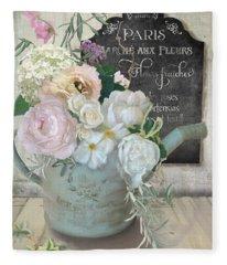 Marche Paris Fleur Vintage Watering Can With Peonies Fleece Blanket