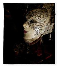 Mardi Gras Mask Fleece Blanket