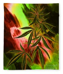 Marijuana Cannabis Plant Fleece Blanket