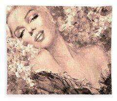 Marilyn Cherry Blossom, B Sepia Fleece Blanket