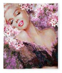 Marilyn Cherry Blossoms Pink Fleece Blanket
