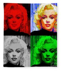 Fleece Blanket featuring the digital art Marilyn Monroe - Quad. Pop Art by Rafael Salazar