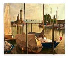 Marina At Golden Light - Digital Paint Fleece Blanket