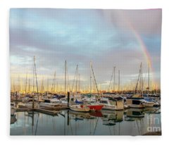 Marina At The Golden Hour With Sunshine Highlighting The Masts Of The Sailboats And A Rainbow In The Fleece Blanket