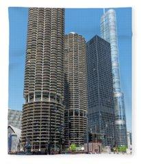 Marina City, Ama Plaza, And Trump Tower Fleece Blanket