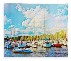 Marina In The Summertime Fleece Blanket