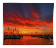 Marina Sunrise - Ft. Pierce Fleece Blanket