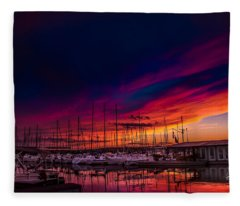 Marina Sunset Fleece Blanket