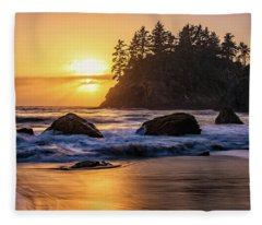 Marine Layer Sunset At Trinidad, California Fleece Blanket